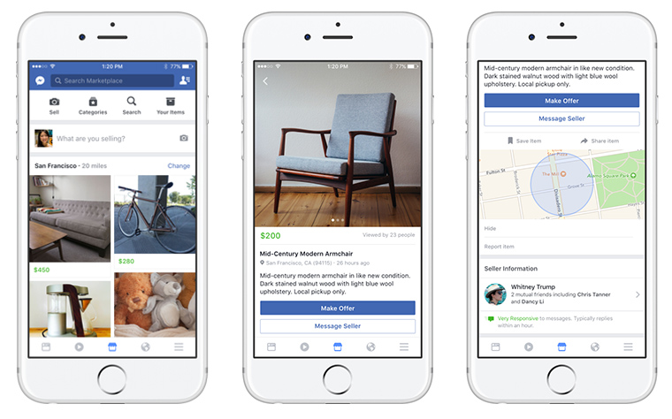 The new Marketplace feature for Facebook embeds classified ads in the popular platform.