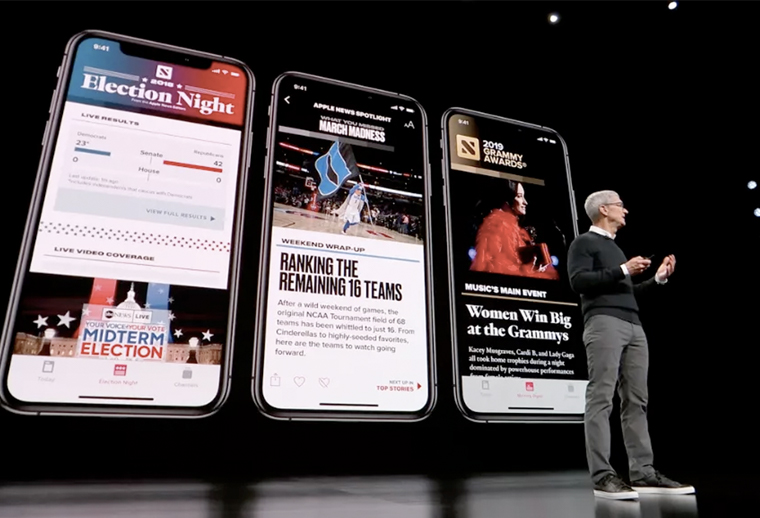 Apple CEO Tim Cook unveils Apple News+ in March.
