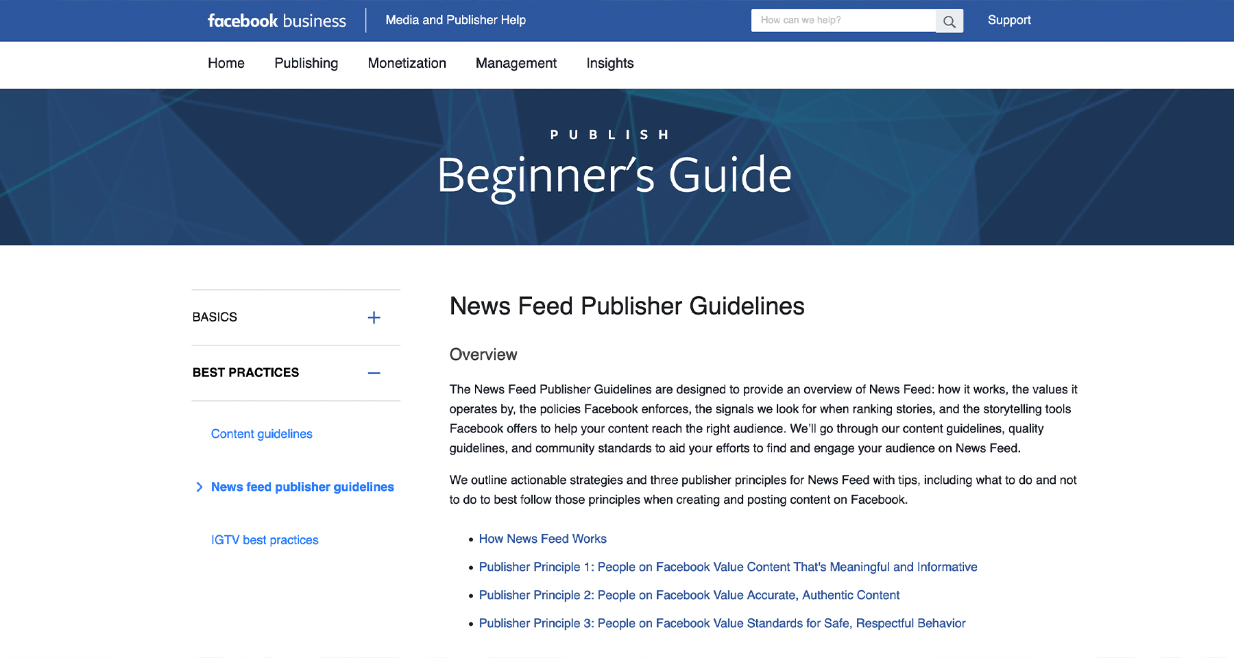 Facebook outlines its criteria for news media companies featured on its News tab.