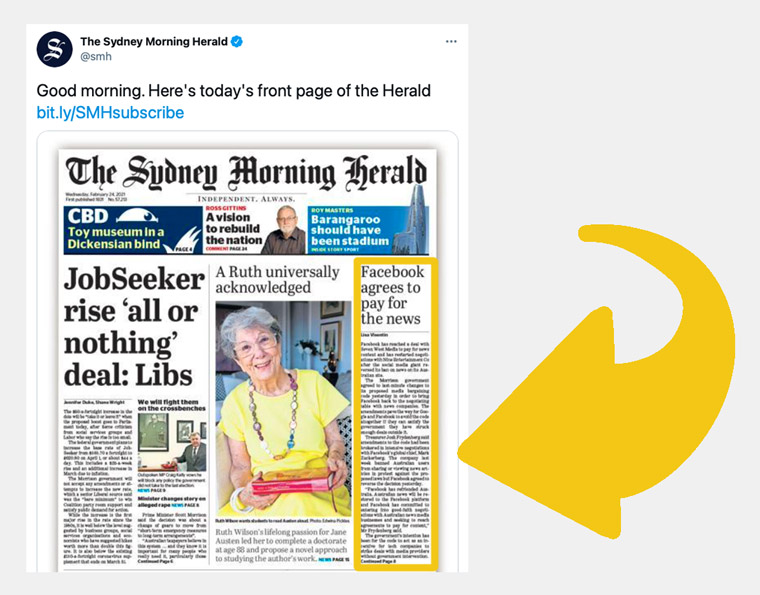 News of the Facebook decision in The Sydney Morning Herald, owned by Nine, which made a content payment deal with Google last week.