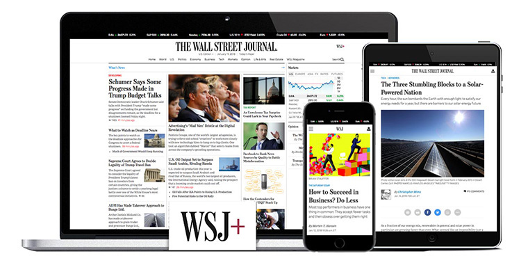 Digital subscribers accounted for 60% of The Wall Street Journal's base in early 2018.