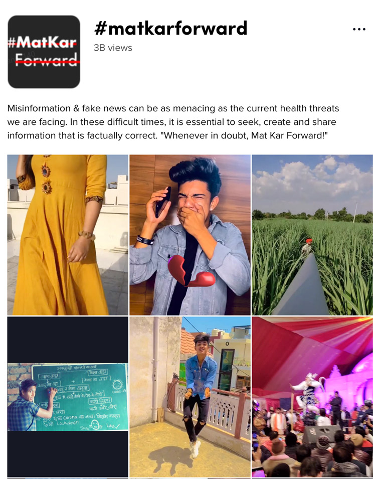 TikTok launched a public service announcement titled #MatKarForward (Don't Forward) about sharing possible misinformation.