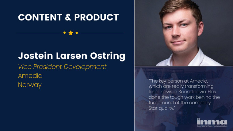 Jostein Larsen Østring is vice president of development at Amedia in Norway.