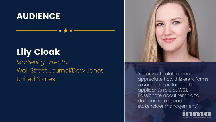 Lily Cloake is marketing director at The Wall Street Journal/Dow Jones in the United States.