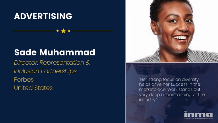 Sade Muhamma is director of representation and inclusion partnerships at Forbes in the United States.