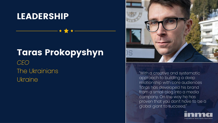Taras Prokopyshyn is CEO of The Ukrainians in the Ukraine.