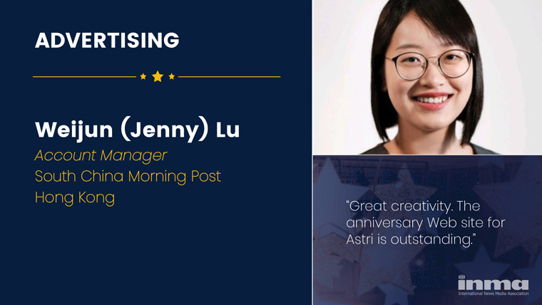 Weijun (Jenny) Lu is account manager in marketing solutions at South China Morning Post in Hong Kong.