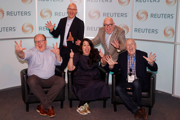 Grzegorz Piechota, Robert Whitehead, Suzi Watford, Earl J. Wilkinson, and Mark Challinor acting up at Reuters.