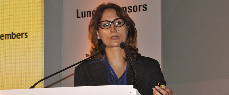 Priya Marwah addresses a 2015 INMA South Asia Conference in New Delhi. She organised 12 annual conferences for INMA.