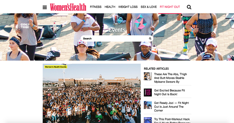 Revenue diversifying events like those listed on the Women'sHealth page are top initiatives at Media24 this year.