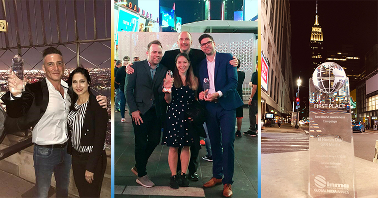 From left, Stuff New Zealand's Steve Hutton at the top of the Empire State Building, the MittMedia team celebrating in Times Square (Magnus Engstrom, Joaquim Linder, Henrik Mazzanti, Michelle Ludovici), and El Nuevo Día's award mysteriously hanging out by itself in Times Square after Friday night's Global Media Awards Dinner at Edison Ballroom.