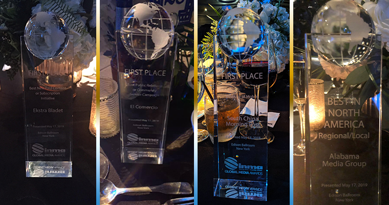Trophies on display at the Edison Ballroom (left to right): Ekstra Bladet, El Comercio, SCMP, Alabama Media Group.