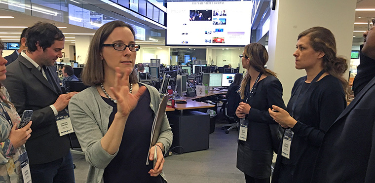 Wall Street Journal Day Editor Kate Ortega gives INMA tour participants a tour of the WSJ newsroom.