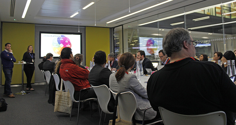 The group stopped at Bloomberg, one of six media companies on the study tour.