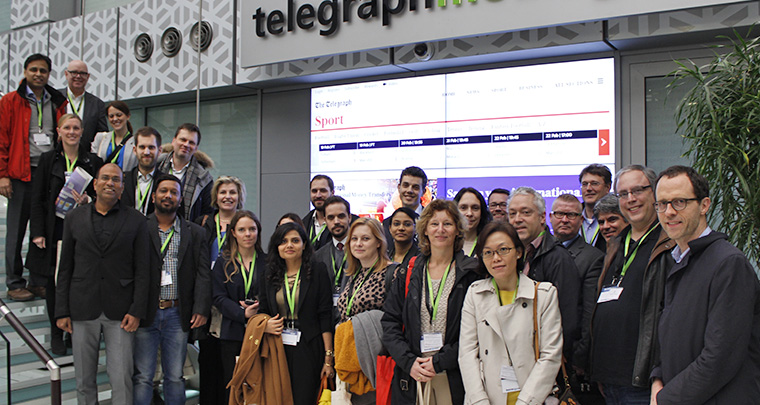 The study tour stopped at Telegraph Media Group for a tour and presentation.