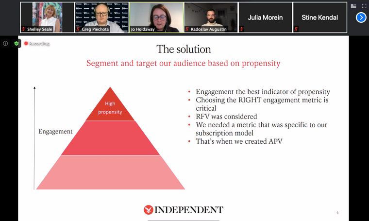 Independent Chief Data Officer Jo Holdaway explained how the publisher segmented its audience.