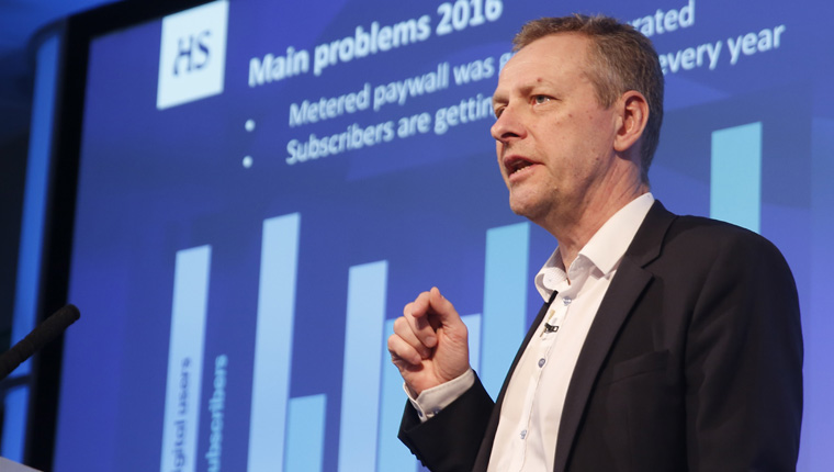 Petteri Putkiranta, president of Helsingin Sanomat, explains how the news media company identified subscriber-only content with a diamond symbol.