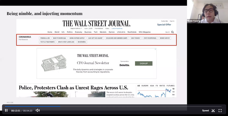 A new coronavirus content navigation bar illustrates how The Wall Street Journal works with agility.