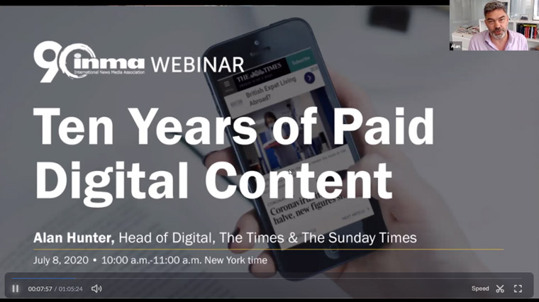 Alan Hunter of The Times of London presented a Webinar on 10 things the company has learned in a decade of paywall.