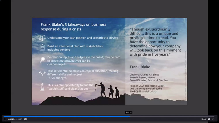 Frank Blake's key takeaways on business response during a crisis.