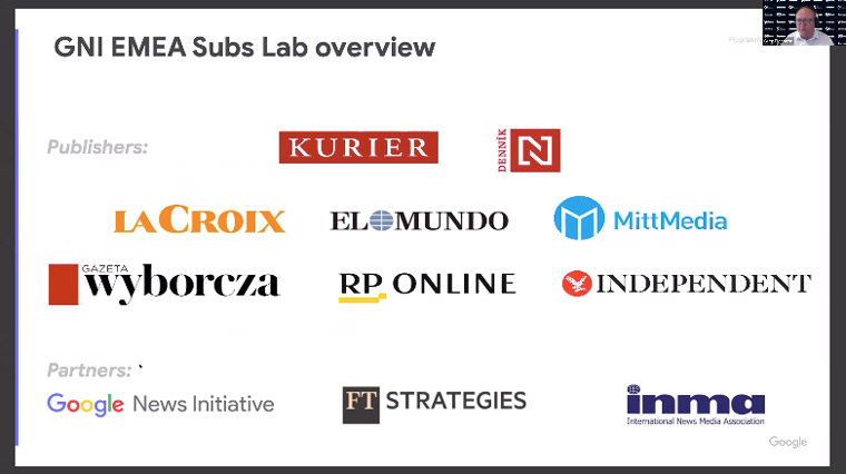 The GNI Subscriptions Lab in Europe included many top news publishers such as these.