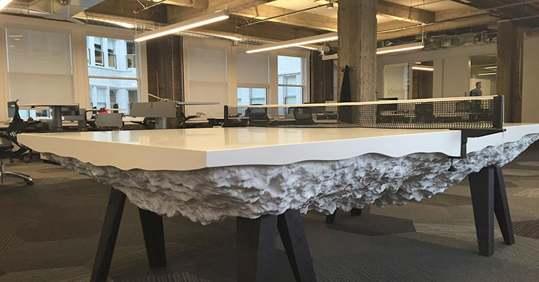 Pingpong tables, like this one at Medium, are a common sight in San Francisco offices today.