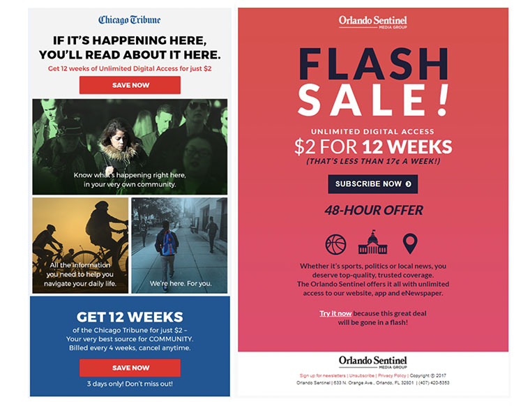 "The ""flash sale"" e-mail test showed readers preferred the splashy offer."