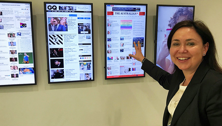 News Corp Australia Chief Digital Officer Nicole Sheffield shows off the company's Web sites, including major changes about to be rolled out.