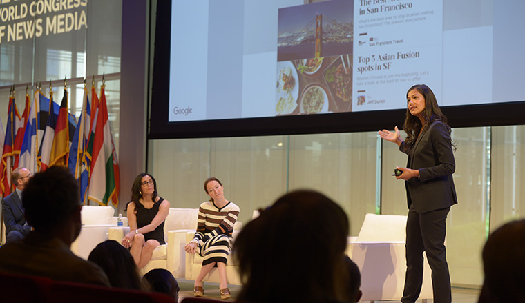 Google's Nathalie Sajous speaking on the main TimesCenter stage at INMA World Congress.