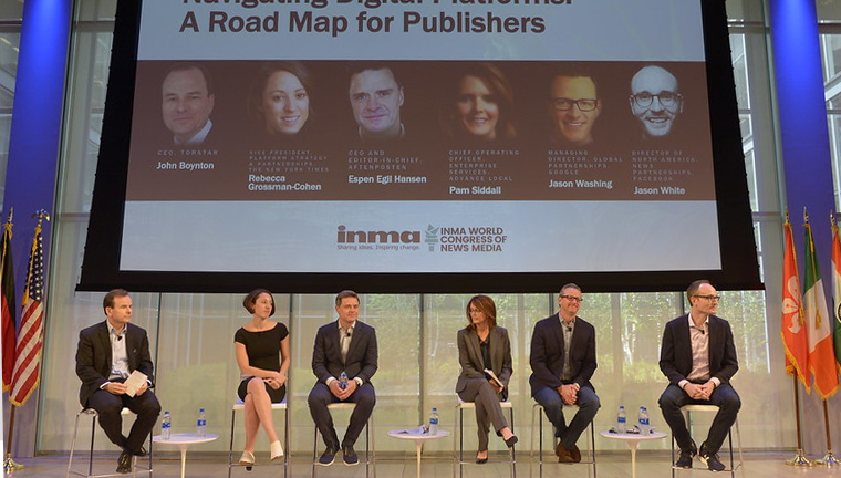 At INMA's World Congress in New York in May, this panel started the discussion on digital platforms. From left to right: John Boynton of Torstar, Rebecca Grossman-Cohen of The New York Times, Espen Egil Hansen of Aftenposten, Pam Siddall of Advance Local, Jason Washing of Google, and Jason White of Facebook.