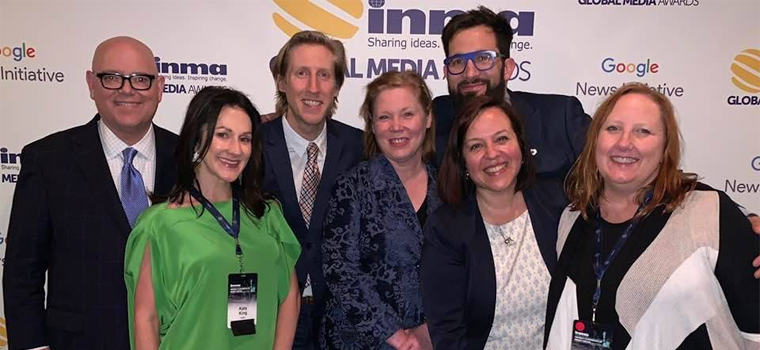 Nothing brings the INMA team closer together than executing a conference experience. Pictured here after the 2019 World Congress in New York are, from left, Earl Wilkinson, Katy King, Jamie Hooper, Kris Williams, Tom Corbett, Raquel Meikle, and Dawn McMullan.