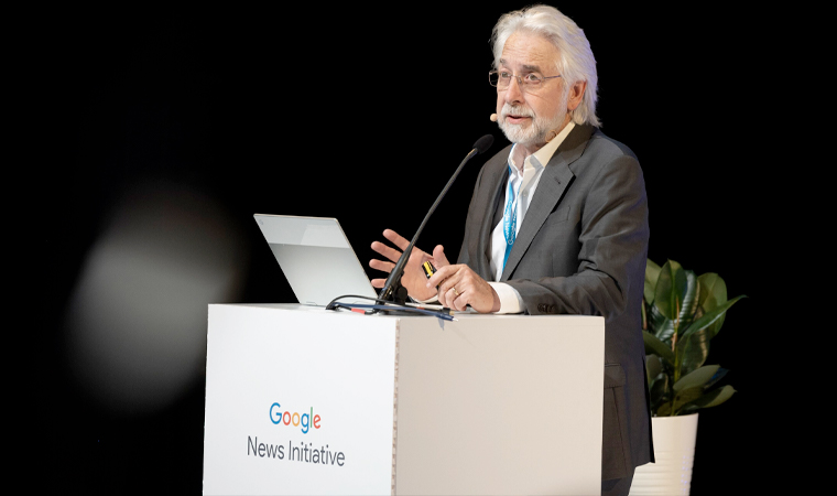 Richard Gingras, vice president news at Google, announces the partnership in Amsterdam on Wednesday.