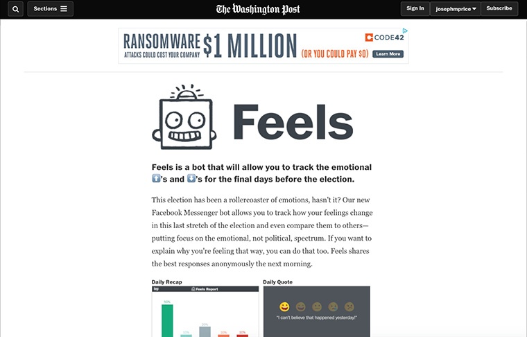 "The Washington Posts launched its ""Feels"" app in October prior to the 2016 U.S. election to seize on a timely opportunity for connecting and interacting with readers."