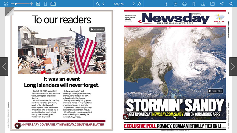Original print coverage of Superstorm Sandy was transformed into a rich, interactive, digital experience.