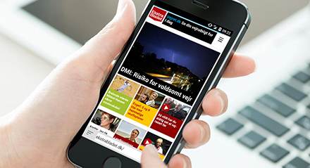 Ekstra Bladet browser interface, which accounts for 92% of its mobile traffic.