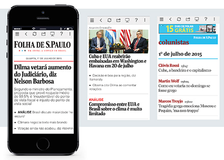 Folha de S.Paulo's subscription-only mobile app.