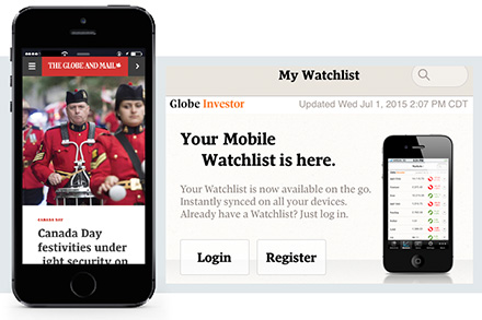 The Globe and Mail's general and Globe Investor smartphone apps.