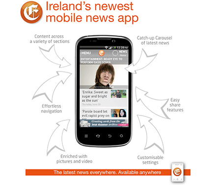 An advertisment by Irish Examiner for their newest mobile news app.