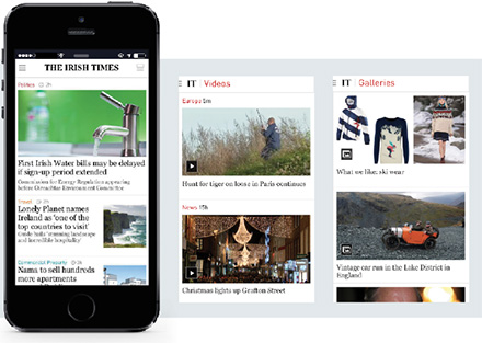 Images of the Irish Times mobile app for smarting phones