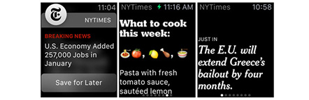 Different functions of New York Times smartwatch app