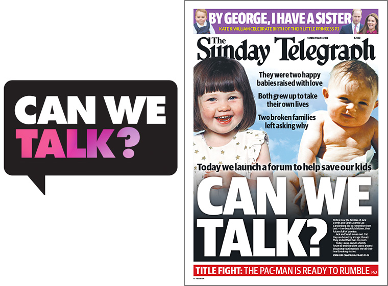 Sunday Telegraph front page announces campaign to address youth suicide crisis