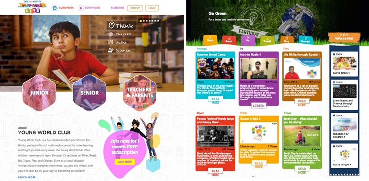 Young World Club caters to different student groups with content organised in age segments and tiered subscription pricing. The online portal extends the reach of a print publication of the same name, targeting students during the school day and at home.