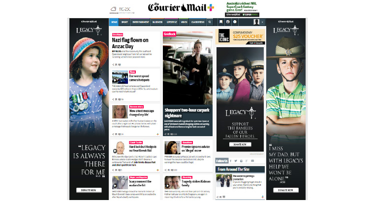 Legacy Brisbane ads featured on Courier Mail site for ANZAC centenary.