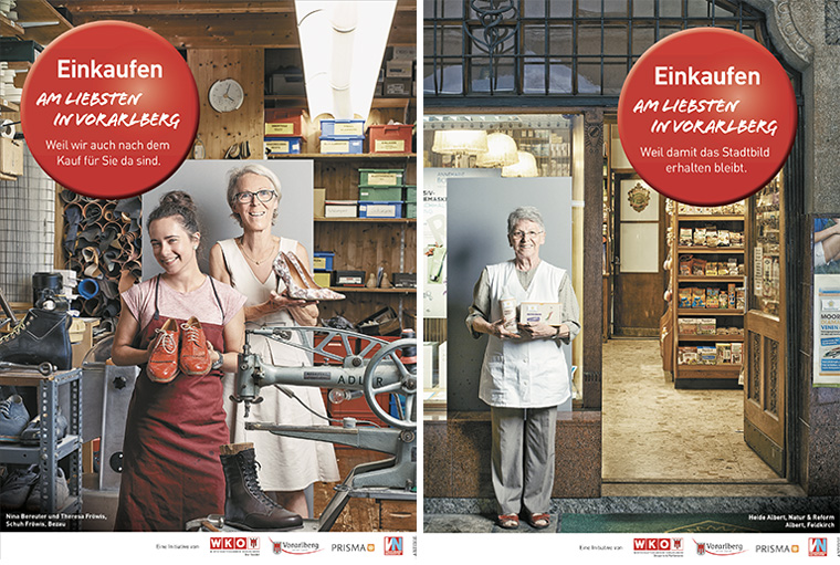 The campaign to attract shoppers to Vorarlberg appealed to the reader's emotions about shopping, highlighting the character of local merchants and shops.