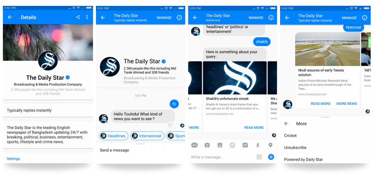 Bot users receive daily morning updates, based on preferences they set, and can easily explore more stories. The Daily Star team already has several updates planned to add more functions.