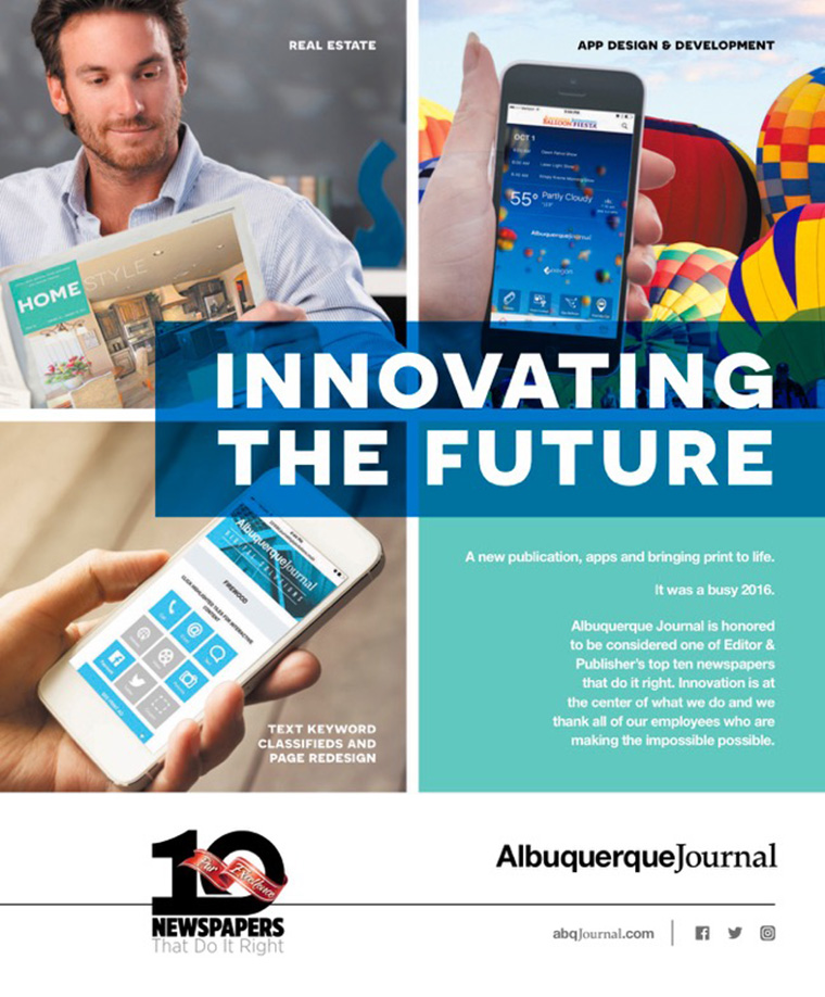 The Albuquerque Journal's exciting new mobile apps, classified advertising portal, and real estate magazine keep content on the cutting edge.