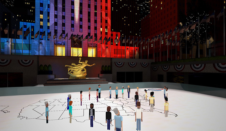 Virtual participants found themselves in a replica of Democracy Plaza with other realistic touches such as the ice rink at Rockefeller Center.