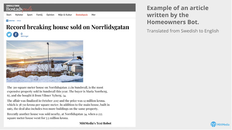 The Homeowners Bot automatically creates an article with details about every home sale within a reader's area, including a photograph.