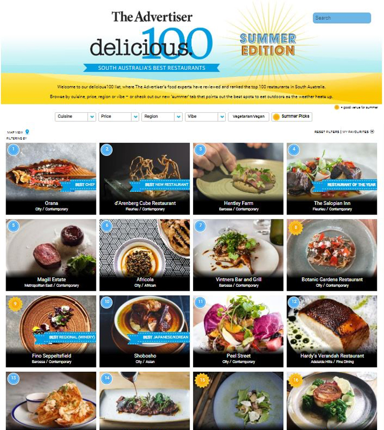 The delicious100 ranking of South Australia's best restaurants is exclusively available via digital subscription.