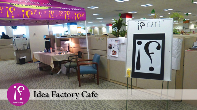 Employee ideas are often discussed at the company cafe.